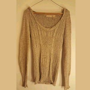 DKNY Jeans M Long Sleeve Hoodie Taupe PullOver